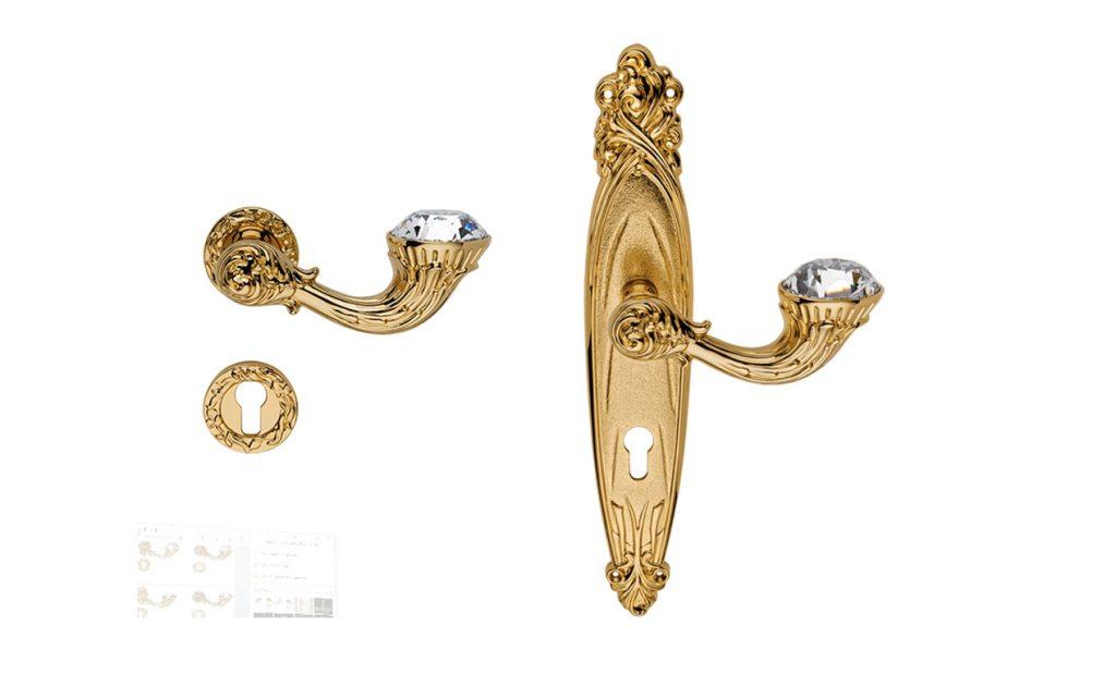 Tay nắm khóa cửa Brilliant Diamond on pl.Arte 8x85 cyl plo