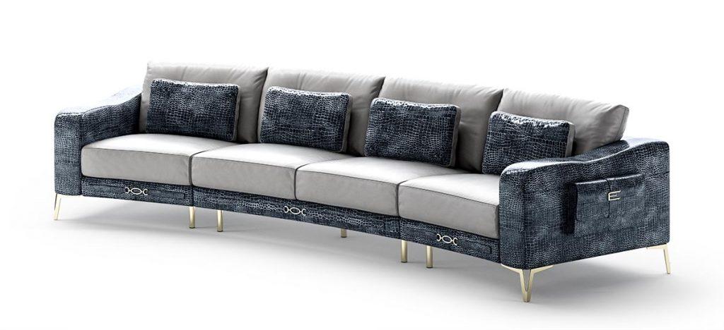 Sofa da nhập khẩu ÝCroc nội thất phòng khách hiện đại cao cấp