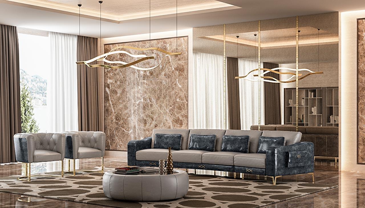 Sofa da nhập khẩu ÝCroc nội thất cao cấp