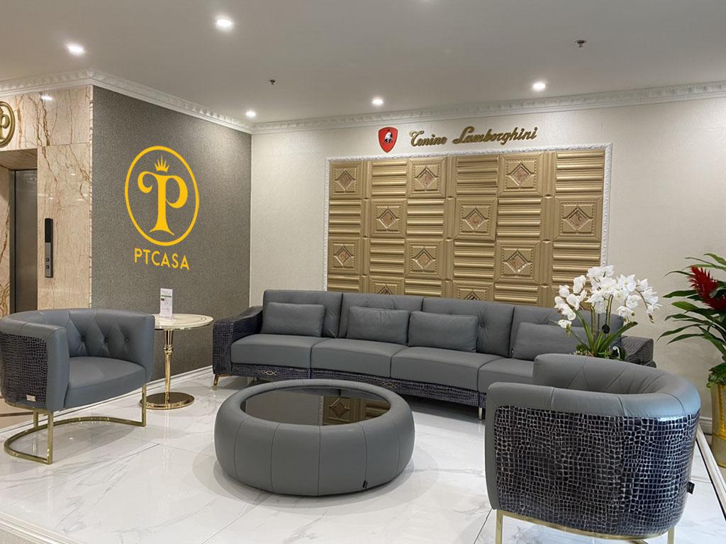 Sofa da nhập khẩu ÝCroc trưng bày tại showroom 177 Cầu Diễn Hà Nội