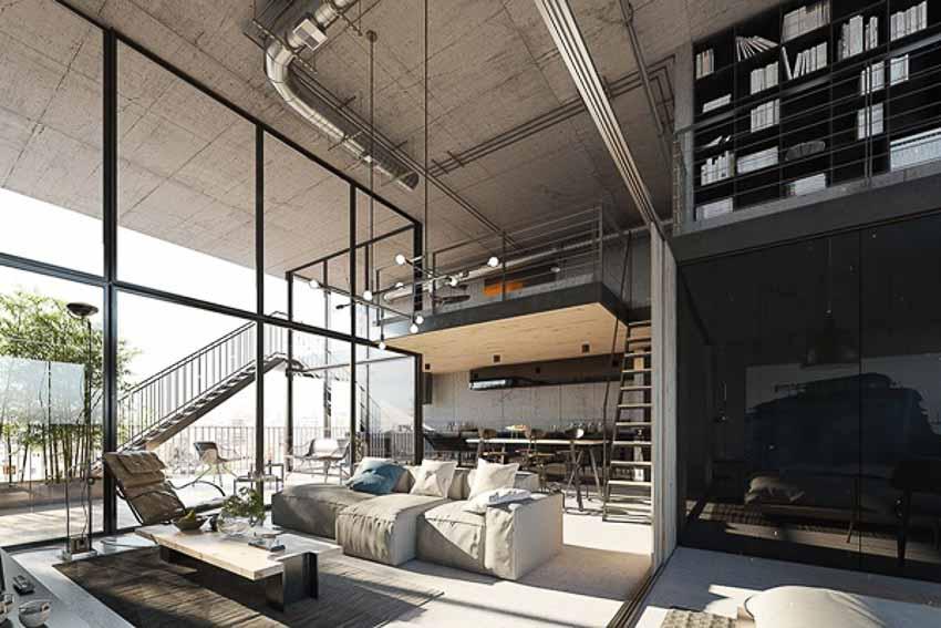 Nội thất phòng khách hiện đại Loft